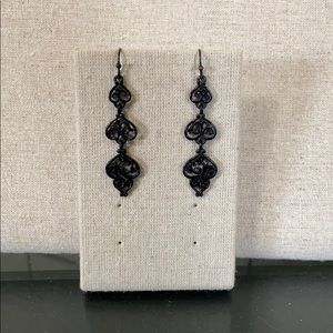 Black filigreed earrings